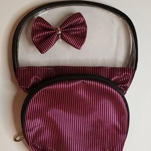 Trezo Pink & Black Striped Makeup Bag 2 Piece